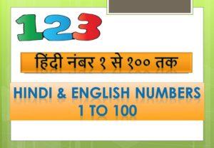 Numbers of Hindi